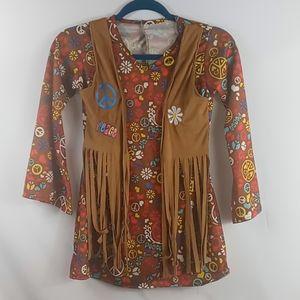 Girls hippie costume size M 10-12